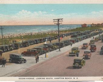 "1930's Hampton Beach,NH Postcard-Full of old cars-""Ocean Ave"""