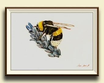 PRINT-Bee BumblebeeHoney insect art drawing  print watercolor painting art wall insect bee- Bee Art - - Art Print by Juan Bosco