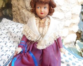 Art Doll 50's French Celluloid Doll Arlesienne Provence Purple Taffeta Folk Art Costume Lace Bonnet Hand Painted Face Apron Crucifix