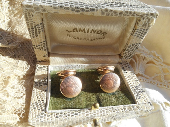 Art Nouveau 1920's Tuxedo Stud Cuff Links French Gold Plated Faux Snake Box LAMINOR 4 faces Retractable Chain #sophieladydeparis