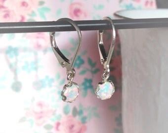Opal Earrings, Opal Dangling Earrings, Sterling Silver Bezel Set with Leverbacks
