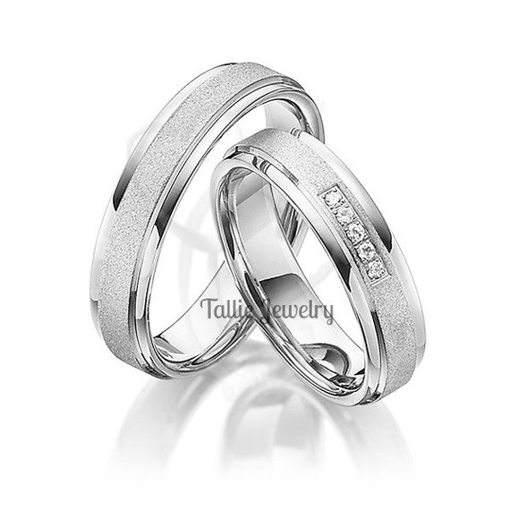 his hers 14k white gold matching wedding bands setdiamond