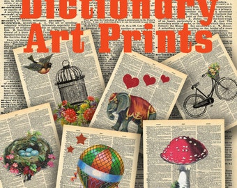 Vintage Dictionary Page Collection - 20 different Art Prints - Printable Digital Download - INSTANT DOWNLOAD