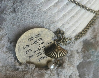 "I Belong By the Sea - 20"" Necklace With a Hand-Stamped Charm Along With a Shell and Pearl Charm"
