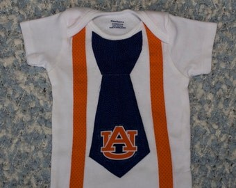 Auburn Onesie, with Tie, Auburn Baby, Shirt, Outfit, Clothes Alabama Tigers Aubie, Boy, Newborn, Bodysuit, Creeper, First Birthday 1 T-shirt