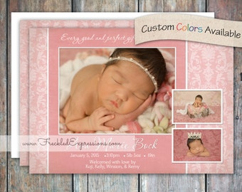 Baby Girl Birth Announcement - Damask