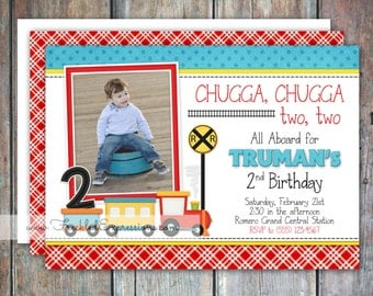 Choo Choo Train Birthday Invitation