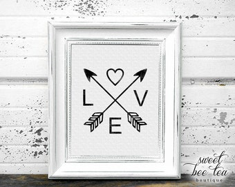 Valentine's Day Wall Art - February - LOVE - Arrows - Heart - Black and White - Printable - Digital File