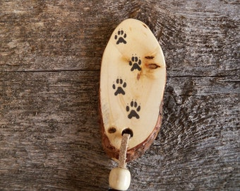 Wooden Bookmark with Wolf Tracks / Rustic Bookmark with Animal Tracks / Handmade Bookmark / Wolf Bookmark / Animal Bookmark.