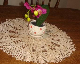Crocheted doily Ecru round table doily Lace doily Lace doilie Crochet doily Crochet doilie Table doily Table decoration  Handmade doili