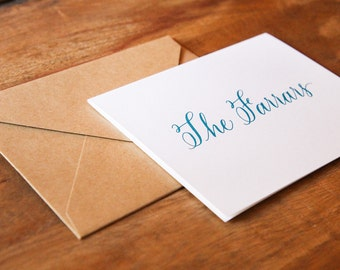 Personalized Calligraphy Folded Notecards (set of 25)
