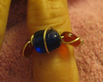 BLUE and REDDISH-ORANGE   Stones Wire Wrapped Ring