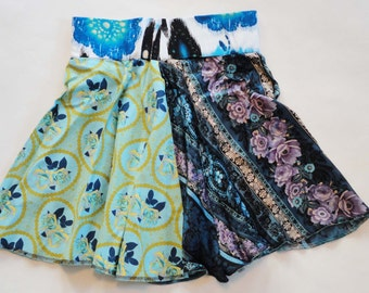 OOAK You Spin Me Right Round Baby Beautiful Blue Roses Multi-Wear Whirly Twirly Skirt w/ Bali Elastic Waistband- ROCK ON Size S/M