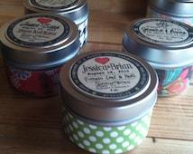 50 Organic Soy Tins 4 oz - Wood Wicks - RETAIL- WEDDING or Event Favors- Vegan / GMO and Pesticide Free