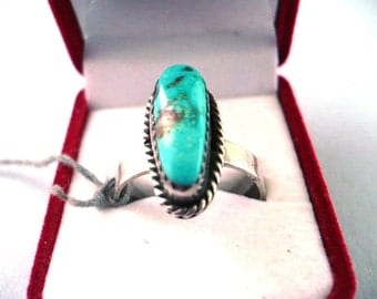 VTG Turquoise and Sterling Silver Ring Size 8