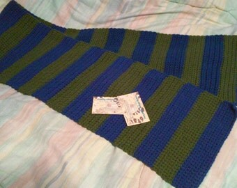 Green and Blue Striped Scarf