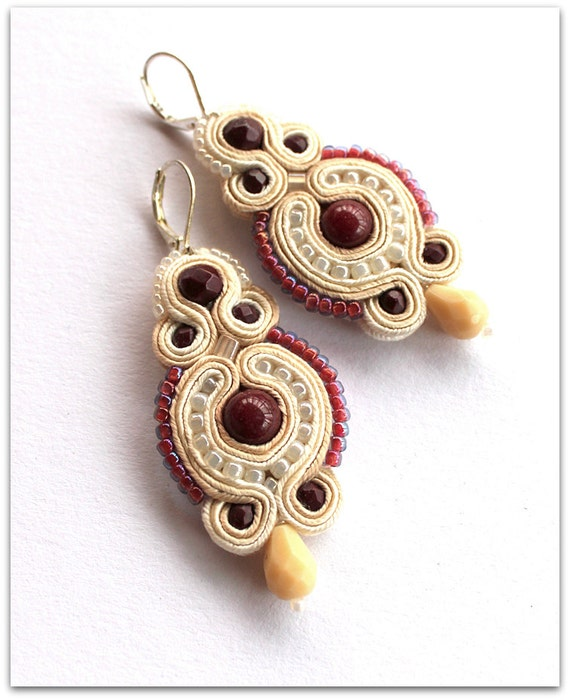 white and red wine soutache earrings, HANDICRAFT