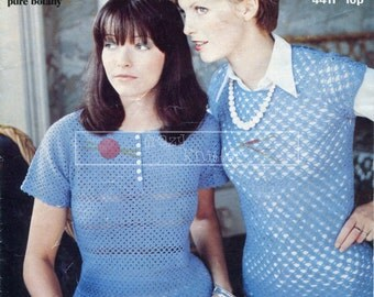 Lady's Short Sleeved Tops 3-ply 32-38in Jaeger 4411 Vintage Crochet Pattern PDF instant download