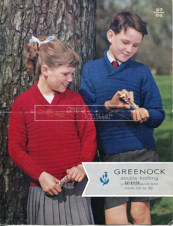 "Child's Sweater DK 22-32"" Greenock 97 Vintage Knitting Pattern PDF instant download"