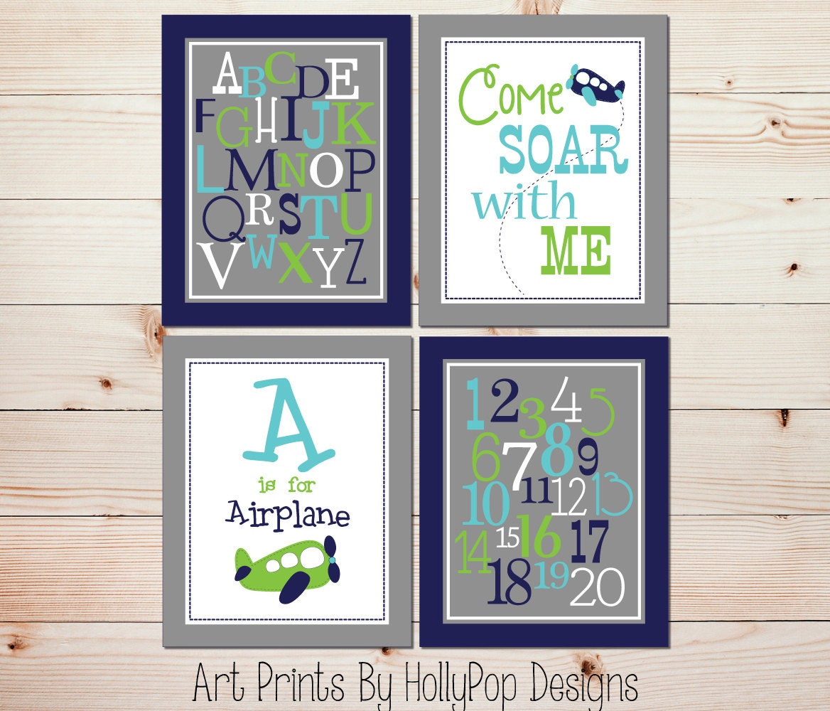 Baby Boy Nursery Wall Art Airplane Nursery Decor Nursery Art