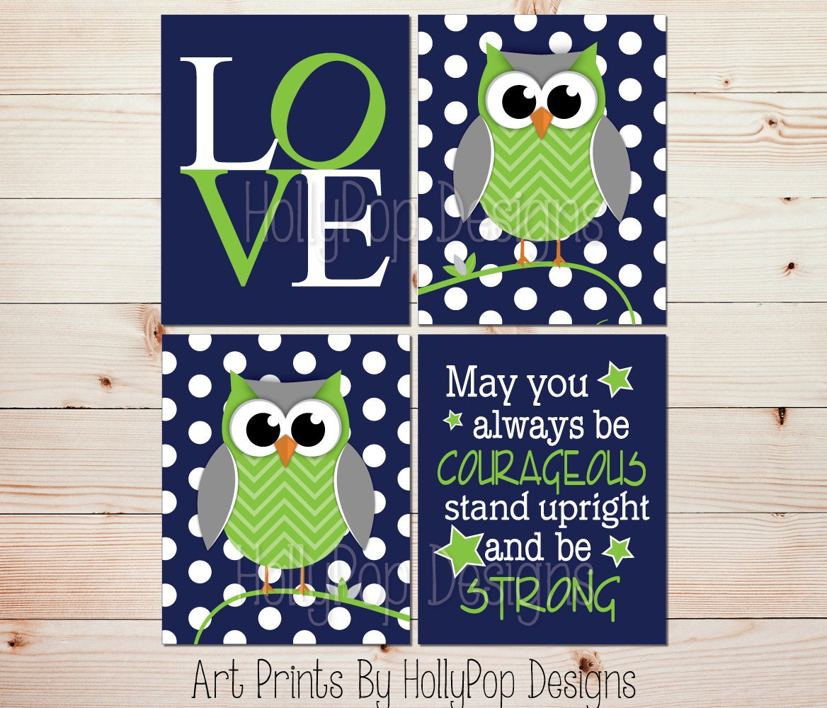 Navy Blue And Green Wall Decor : Baby boy wall art navy blue lime green prints owl