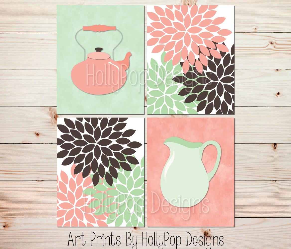 Mint Green Kitchen Decor: Kitchen Decor Peach Mint Green Brown Kitchen Wall Art Floral