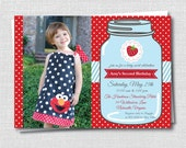 Classic Strawberry Birthday Photo Invitation - Strawberry Theme Party - Digital Design or Printed Invitations - FREE SHIPPING
