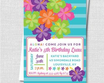 Luau Party Invitation - Hawaiian Luau Birthday Party Invite - Digital Design or Printed Invitations - FREE SHIPPING