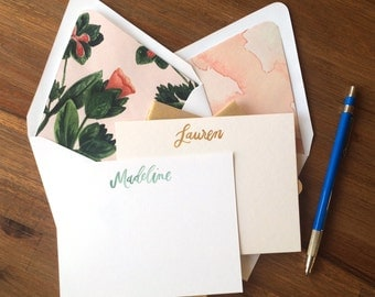 Custom Watercolor Stationery / Hand Painted Social Stationery / Personalized and Customizable Gift / Set of 10 Cards