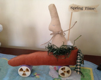Primitive Easter Spring Time Bunny Riding Carrot on Wheels, Handmade