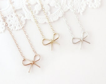Bow Necklace, Sterling Silver or Gold Filled Necklace