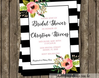 Watercolor Floral Bridal Shower Invitation Modern Black White Stripes Birthday Baby Shower Party CHOOSE WORDING Watercolor Flowers