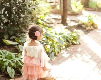 White & Pink Sparkle Rosette Tutu Dress, Flower Girl, Princess Dress, Vintage, Birthday Dress, Photo