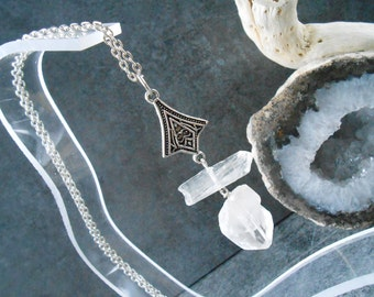 """Raw quartz necklace tips and Connector """"mystical"""""""
