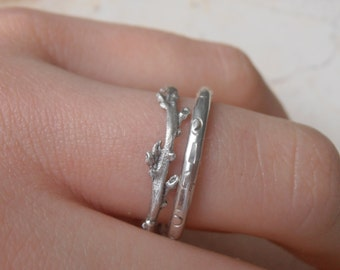 Twig rings set , Galilee wild lavender skinny ring, 2mm hand carved ring, wedding rings sterling silver made to order