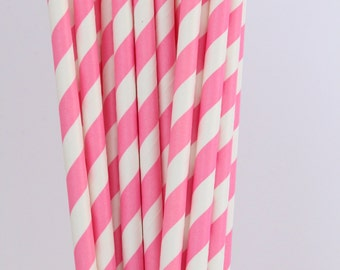 Pack of 25 Drinking Retro Paper Straws for Birthday / Party / Wedding Decoration - Baby Pink