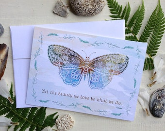 Butterfly 5x7 Greeting Card - Rumi Quote, Boho, Free Spirit, Beauty