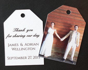 50 Wedding Favor Thank You Gift Tags with Photo