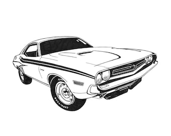 Print from my original ink drawing of a 1970 Challenger