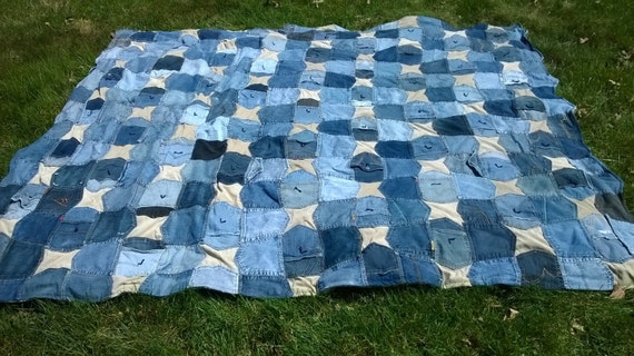 Blue Jeans Pockets Quilt Custom Queen Size Quilt Upcycled