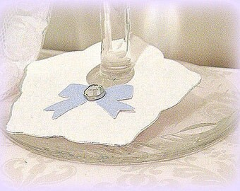 Blue and white Wine glass tags Markers Wine glass drink place cards bow and gem 10 Hand crafted Choose your Colors Custom tag place card