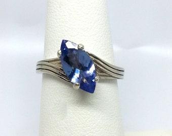 1.35ct Marquise Tanzanite 14K White Gold Ring Size 6