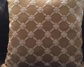 Linen embroidered pillow cover 18x18in