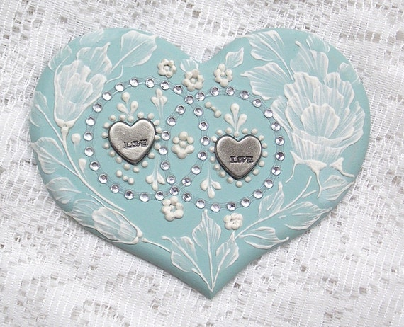 Hand Painted Soft Turquoise MUD Roses Heart Cookie with Rhinestone Bling 24