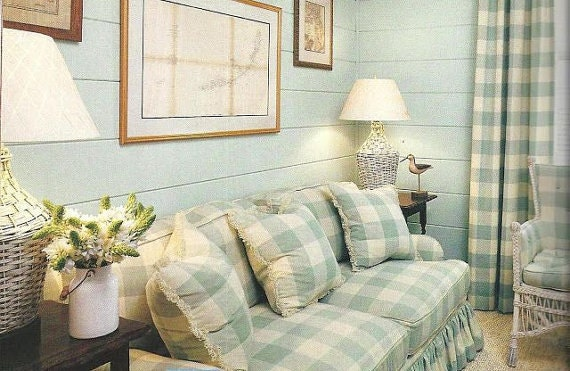 Items Similar To Buffalo Check Curtais Large Check In Teal And White Curtains Seabreeze 2