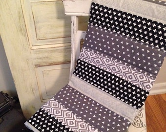 Black Geometric Baby Quilt - Black and Grey Baby Quilt
