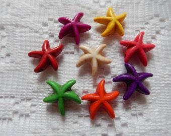 8  Multicolored Starfish Howlite Turkey Turquoise Beads  16mm