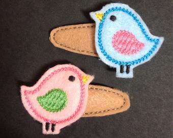 Felties, little bird snap clips. Love birds barrettes.