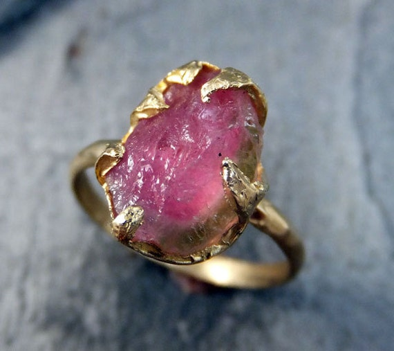 Raw Rough Uncut Watermelon Tourmaline Gold Ring Bi Color Ring green Pink Gemstone Crystal 14k recycled byAngeline