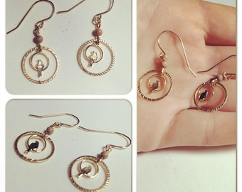 gold filled lovebird earrings with agate stone